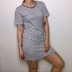 Heather gray and white striped shirt sleeve dress